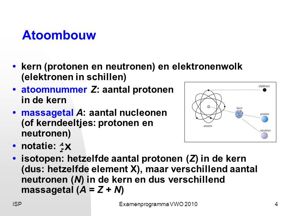 Atoombouw • kern (protonen en neutronen) en elektronenwolk (elektronen in schillen) • atoomnummer Z: aantal protonen.