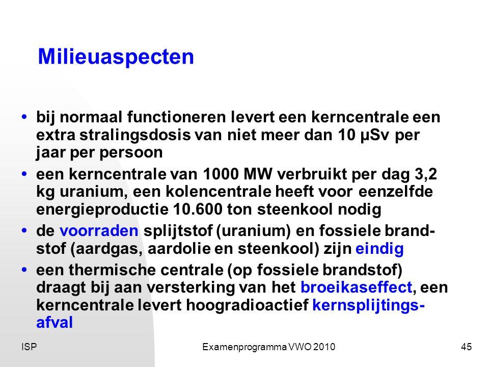 Milieuaspecten • bij normaal functioneren levert een kerncentrale een extra stralingsdosis van niet meer dan 10 μSv per jaar per persoon.