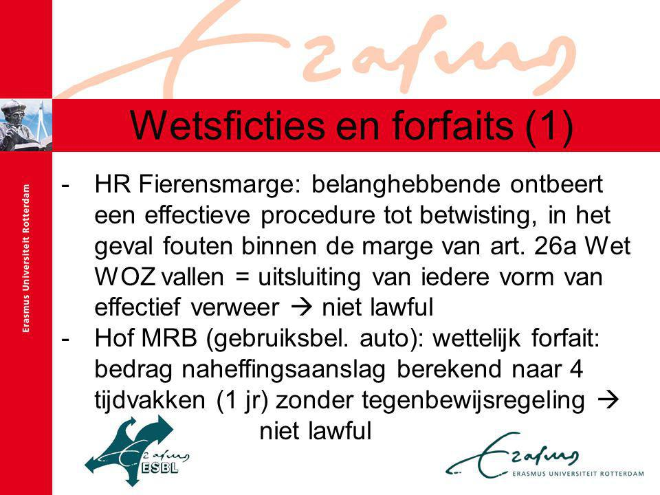 Wetsficties en forfaits (1)