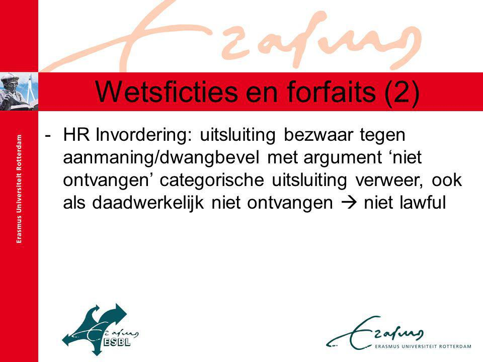 Wetsficties en forfaits (2)
