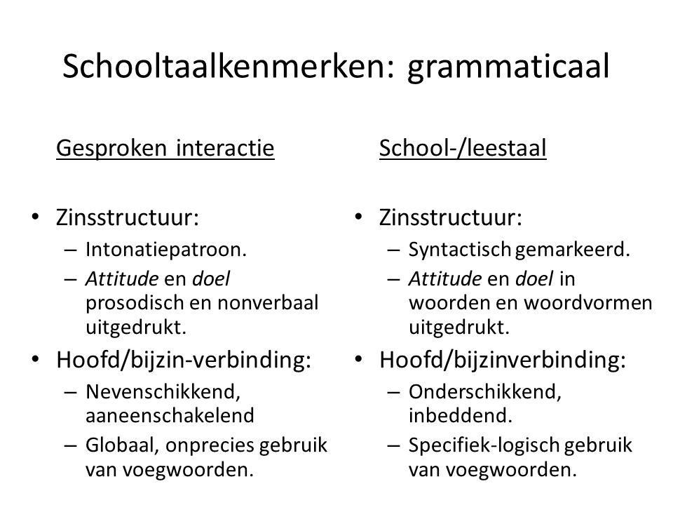 Schooltaalkenmerken: grammaticaal