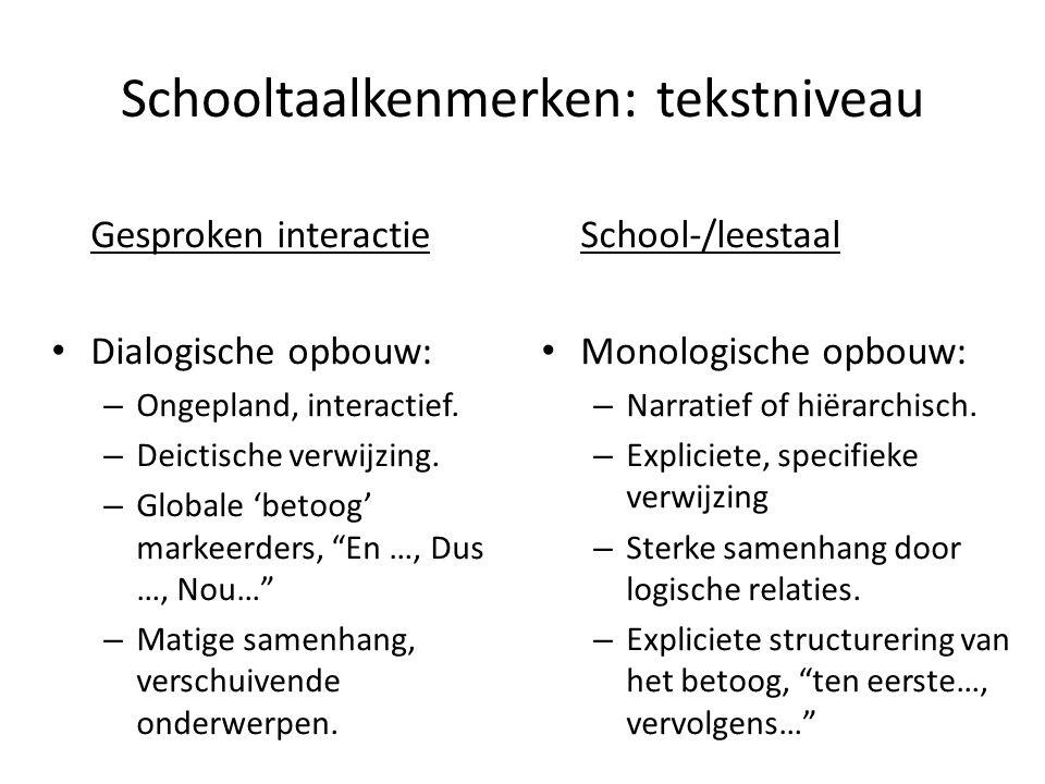 Schooltaalkenmerken: tekstniveau