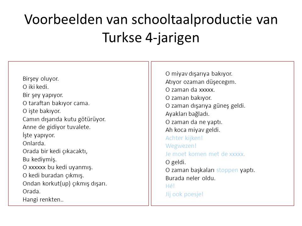 Voorbeelden van schooltaalproductie van Turkse 4-jarigen