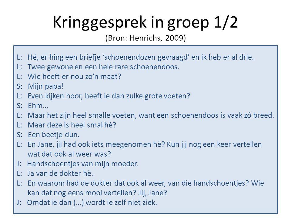 Kringgesprek in groep 1/2 (Bron: Henrichs, 2009)