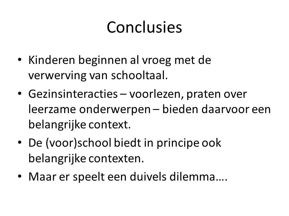 Conclusies Kinderen beginnen al vroeg met de verwerving van schooltaal.