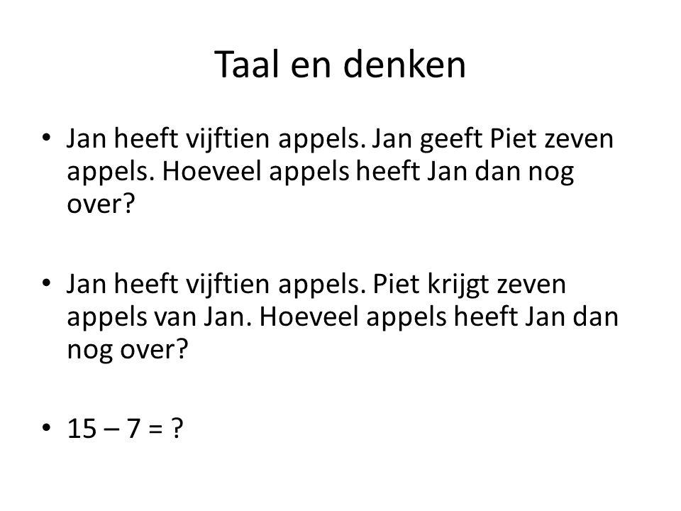 Taal en denken Jan heeft vijftien appels. Jan geeft Piet zeven appels. Hoeveel appels heeft Jan dan nog over