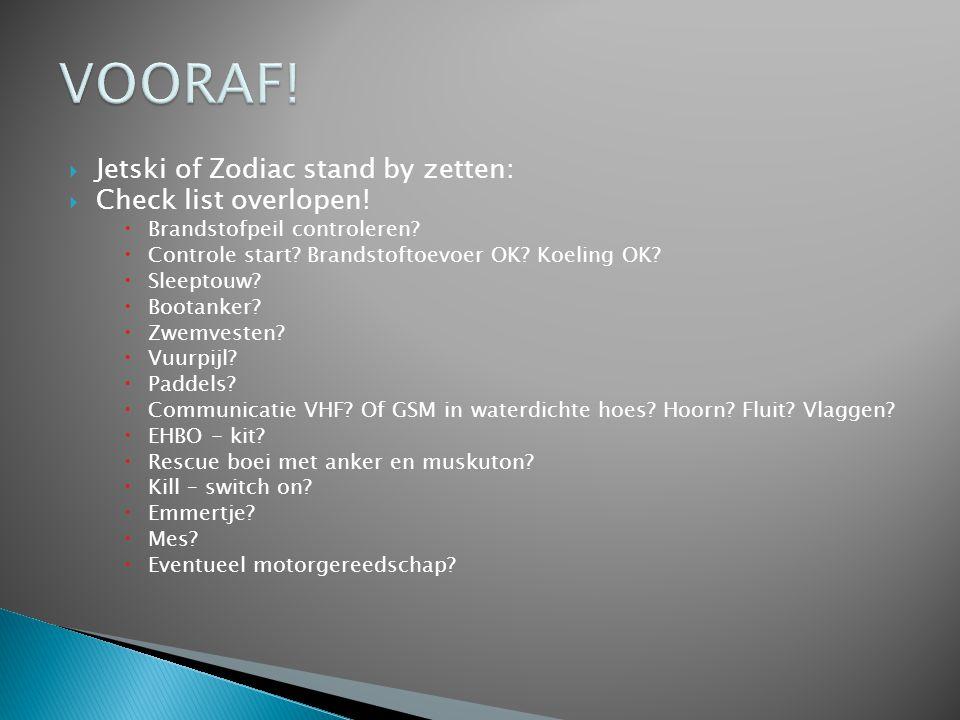 VOORAF! Jetski of Zodiac stand by zetten: Check list overlopen!