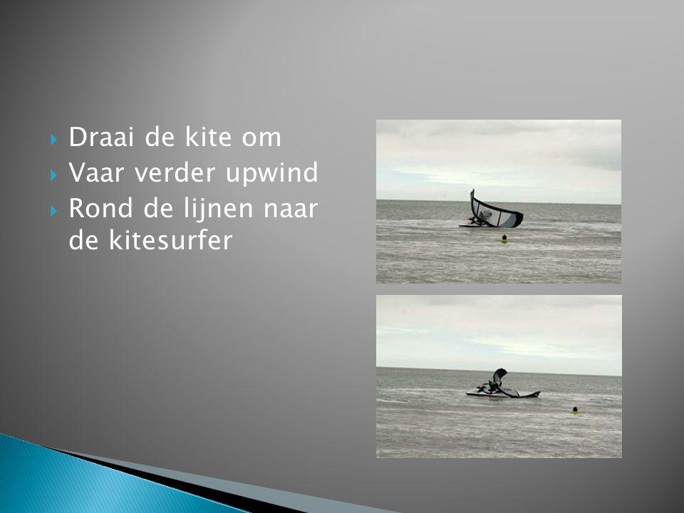 Draai de kite om Vaar verder upwind Rond de lijnen naar de kitesurfer