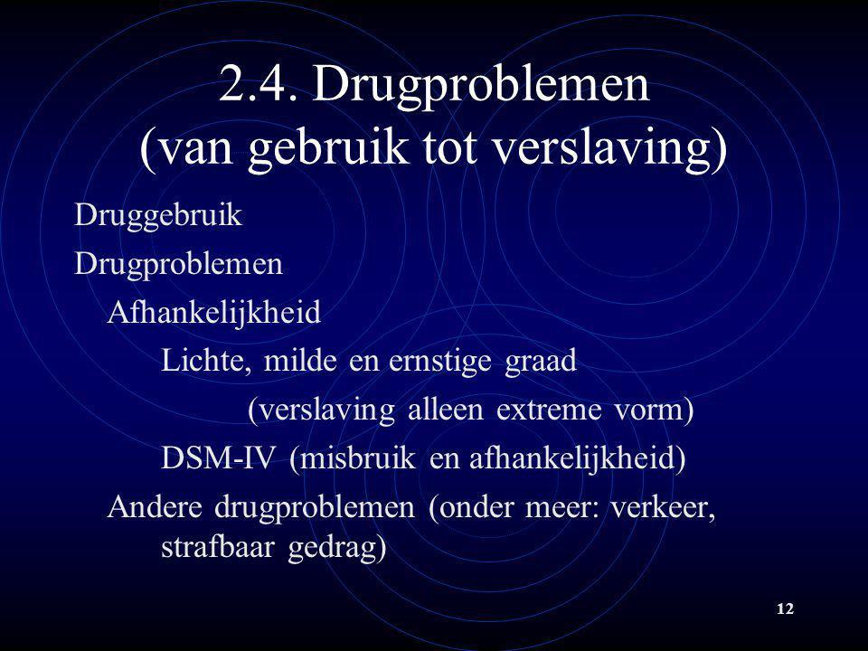 2.4. Drugproblemen (van gebruik tot verslaving)