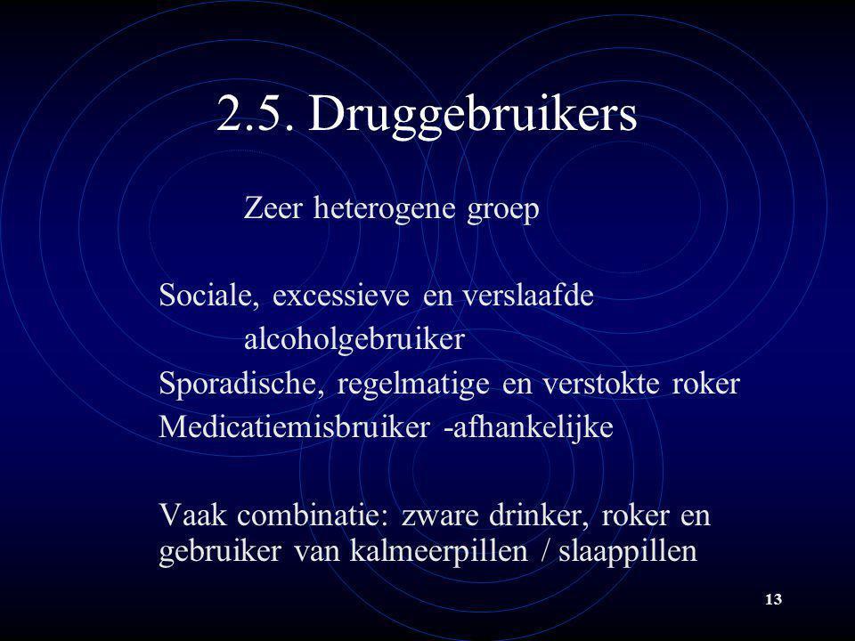 2.5. Druggebruikers Zeer heterogene groep