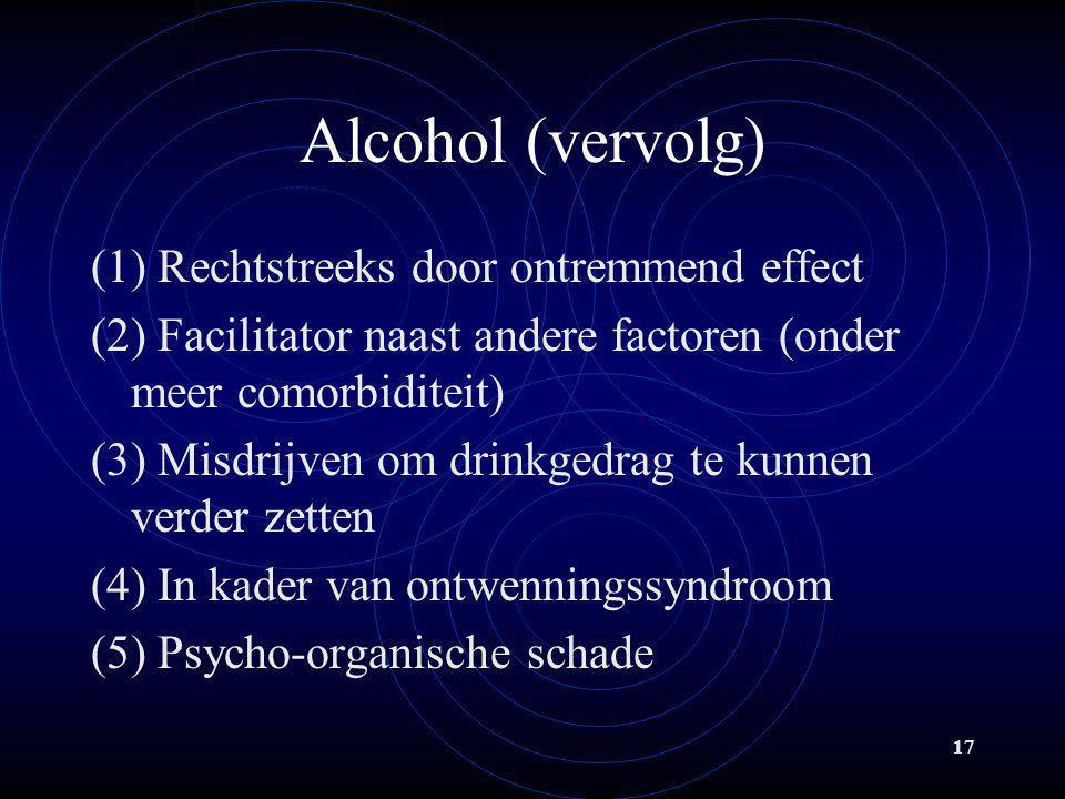 Alcohol (vervolg) (1) Rechtstreeks door ontremmend effect