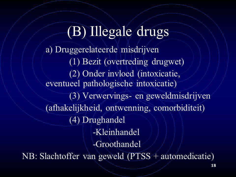 (B) Illegale drugs a) Druggerelateerde misdrijven