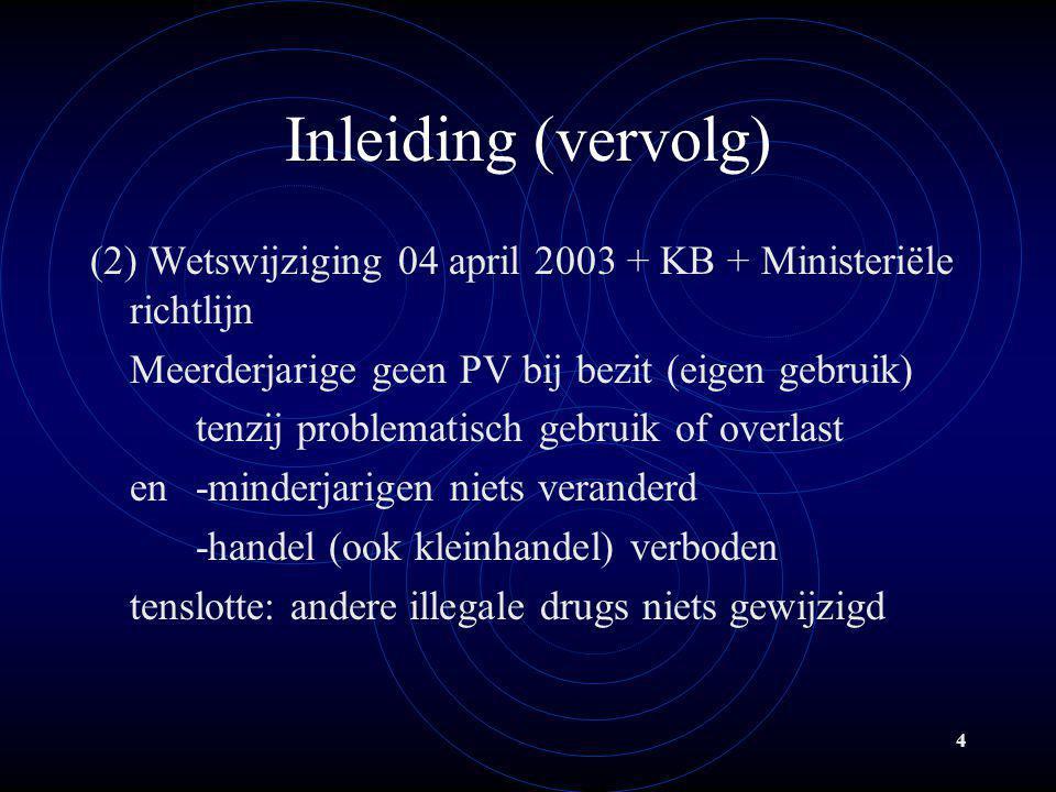 Inleiding (vervolg) (2) Wetswijziging 04 april 2003 + KB + Ministeriële richtlijn. Meerderjarige geen PV bij bezit (eigen gebruik)