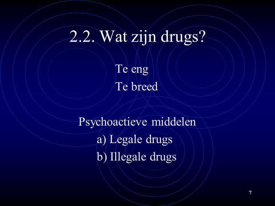 2.2. Wat zijn drugs Te eng Te breed Psychoactieve middelen