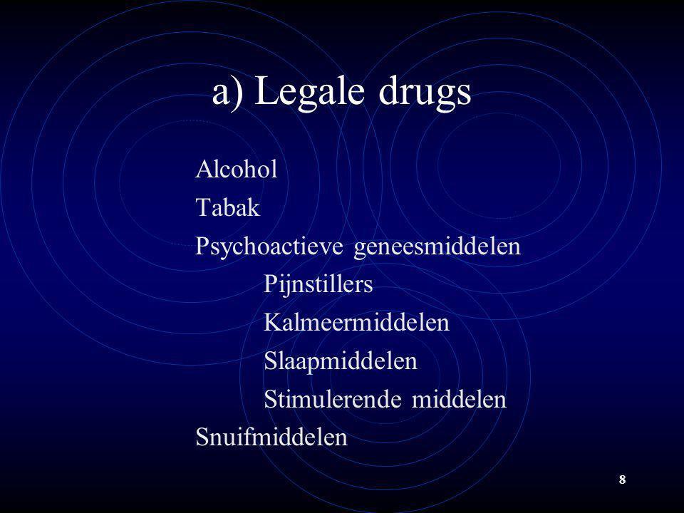 a) Legale drugs Alcohol Tabak Psychoactieve geneesmiddelen