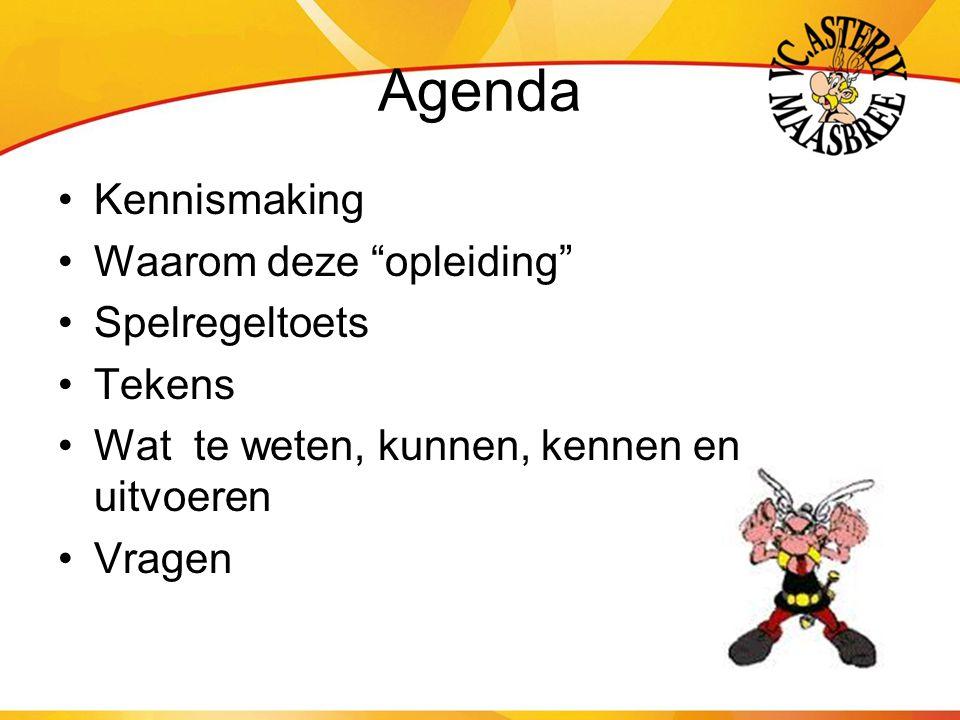 Agenda Kennismaking Waarom deze opleiding Spelregeltoets Tekens