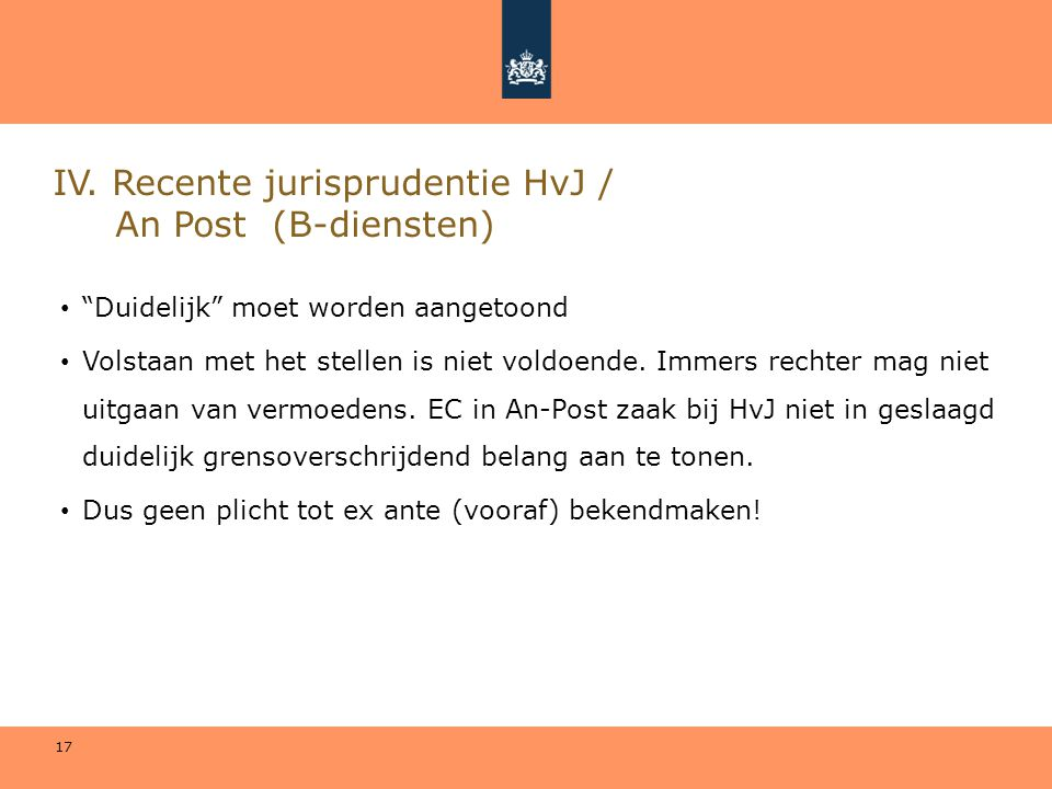 IV. Recente jurisprudentie HvJ / An Post (B-diensten)