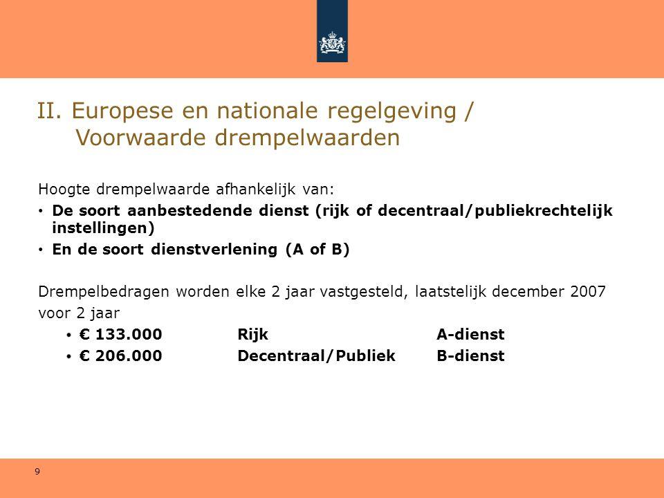 II. Europese en nationale regelgeving / Voorwaarde drempelwaarden