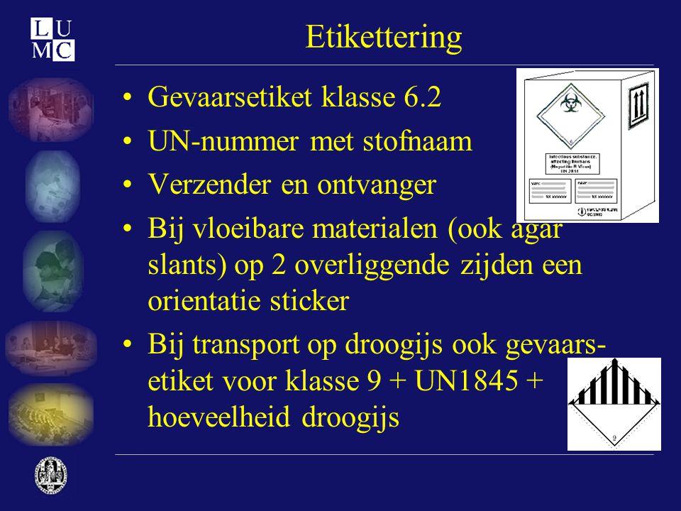 Etikettering Gevaarsetiket klasse 6.2 UN-nummer met stofnaam