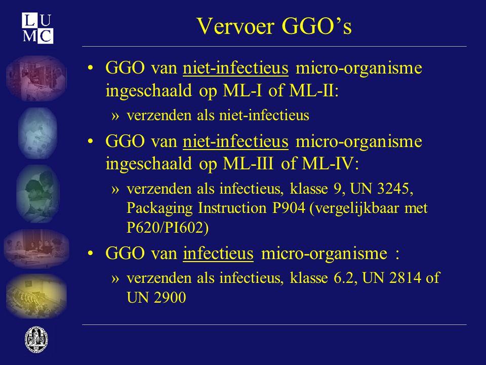Vervoer GGO's GGO van niet-infectieus micro-organisme ingeschaald op ML-I of ML-II: verzenden als niet-infectieus.
