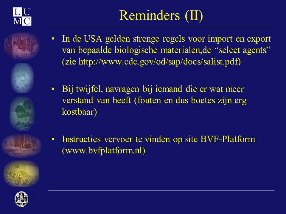 Reminders (II)