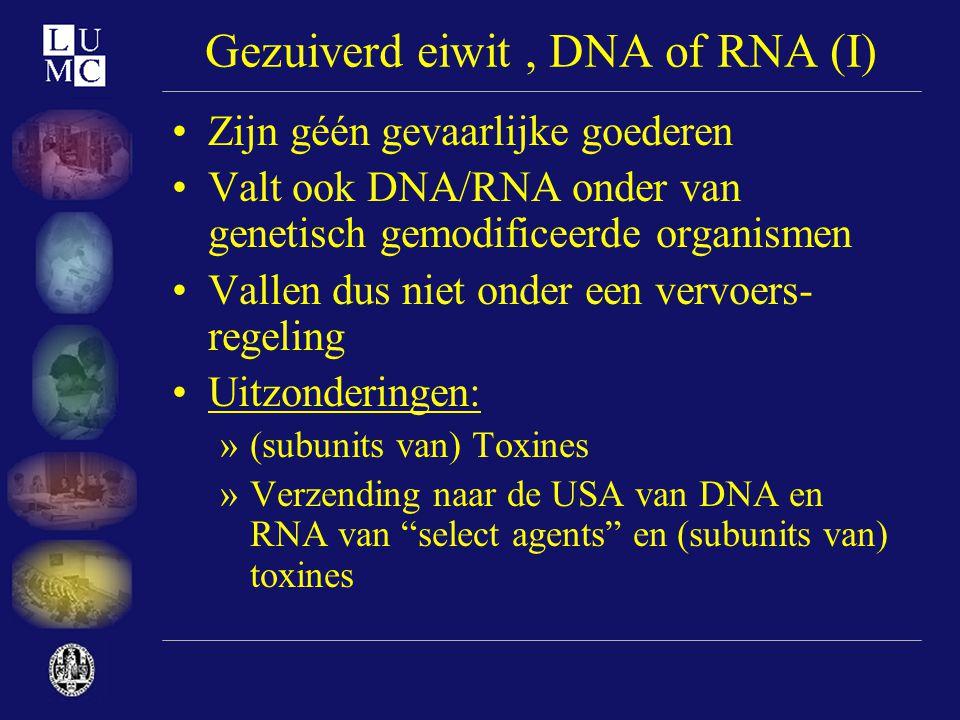 Gezuiverd eiwit , DNA of RNA (I)
