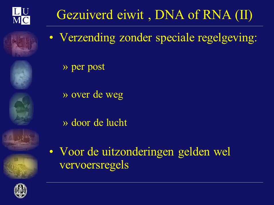 Gezuiverd eiwit , DNA of RNA (II)