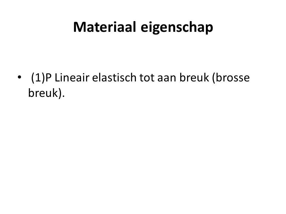 Materiaal eigenschap (1)P Lineair elastisch tot aan breuk (brosse breuk).