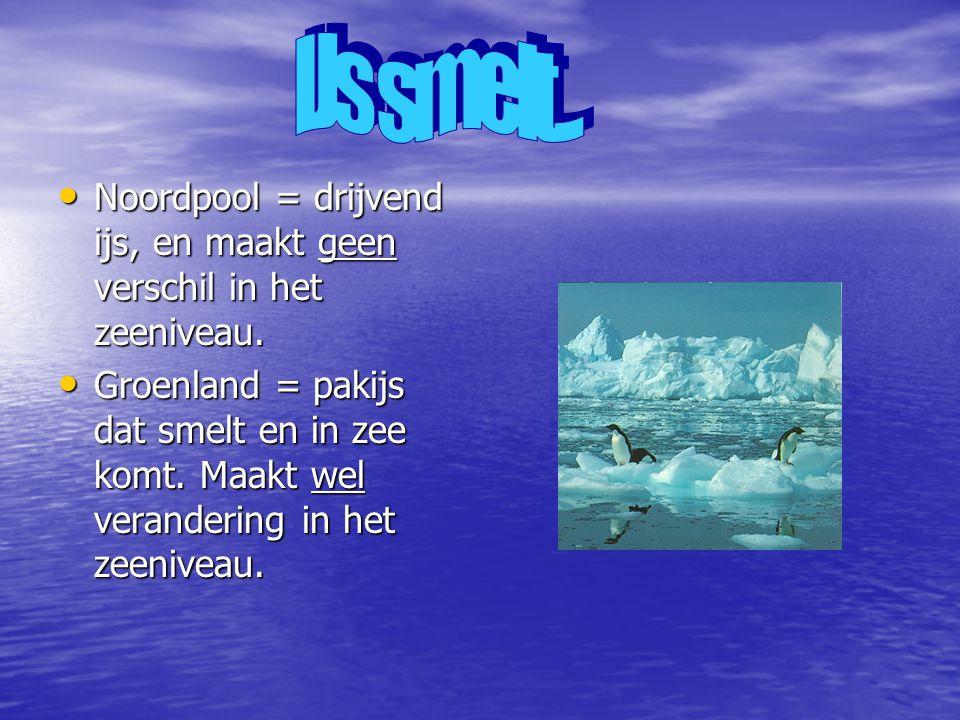 IJs smelt... Noordpool = drijvend ijs, en maakt geen verschil in het zeeniveau.