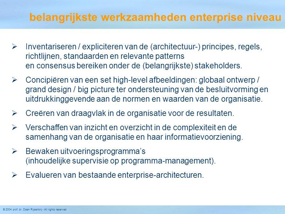 belangrijkste werkzaamheden enterprise niveau