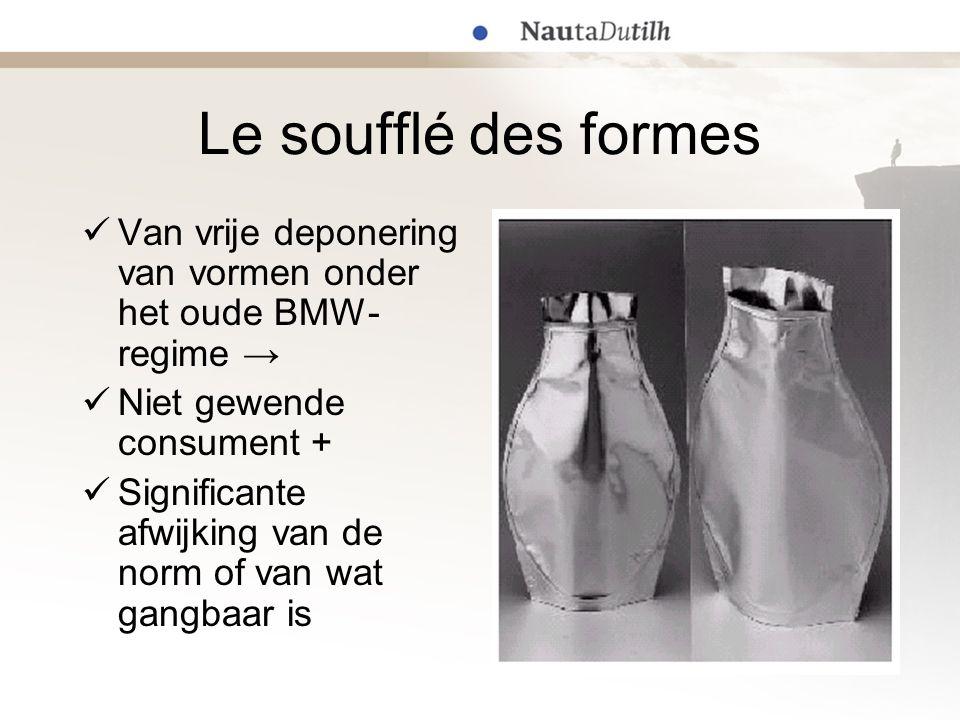 Le soufflé des formes Van vrije deponering van vormen onder het oude BMW-regime → Niet gewende consument +