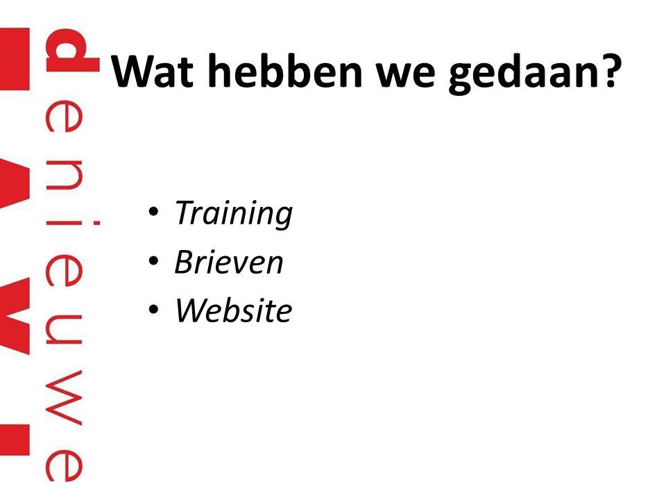 Wat hebben we gedaan Training Brieven Website