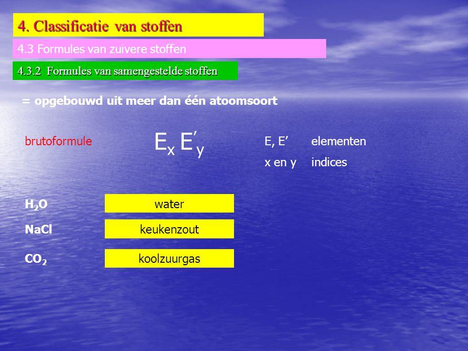 Ex E'y 4. Classificatie van stoffen 4.3 Formules van zuivere stoffen