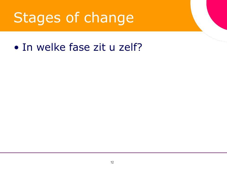 Stages of change In welke fase zit u zelf