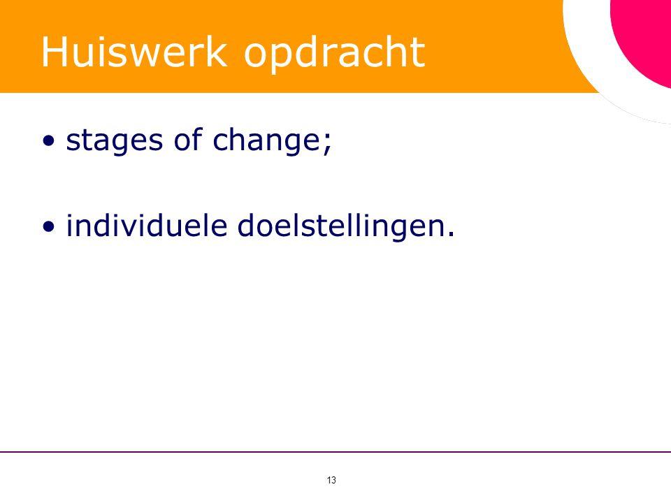 Huiswerk opdracht stages of change; individuele doelstellingen.