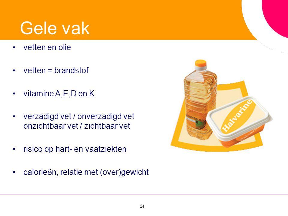 Gele vak vetten en olie vetten = brandstof vitamine A,E,D en K