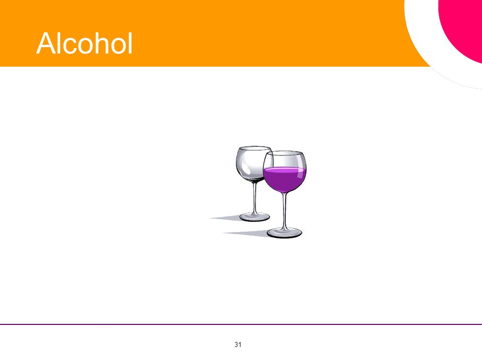 Alcohol Bij het onderwerp alcohol bespreek ik de invloed van alcohol op uw gezondheid 31