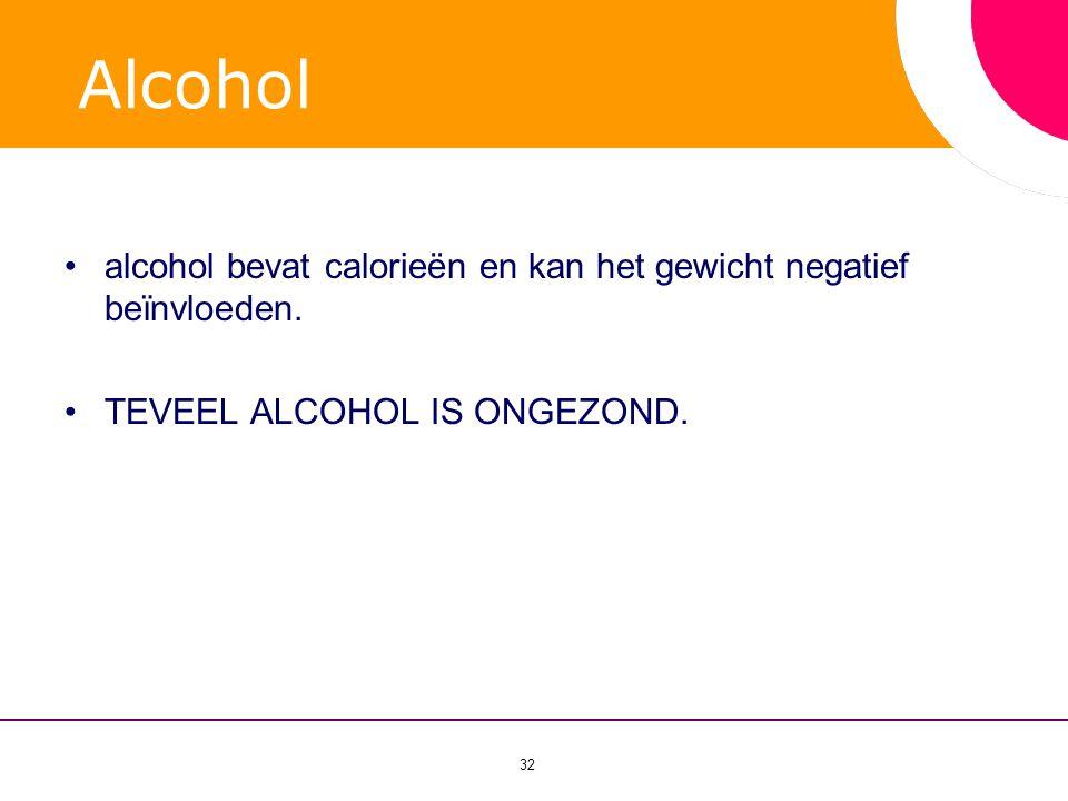 Alcohol alcohol bevat calorieën en kan het gewicht negatief beïnvloeden. TEVEEL ALCOHOL IS ONGEZOND.
