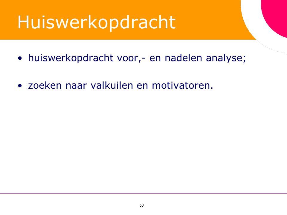 Huiswerkopdracht huiswerkopdracht voor,- en nadelen analyse;