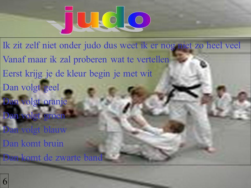 judo Ik zit zelf niet onder judo dus weet ik er nog niet zo heel veel