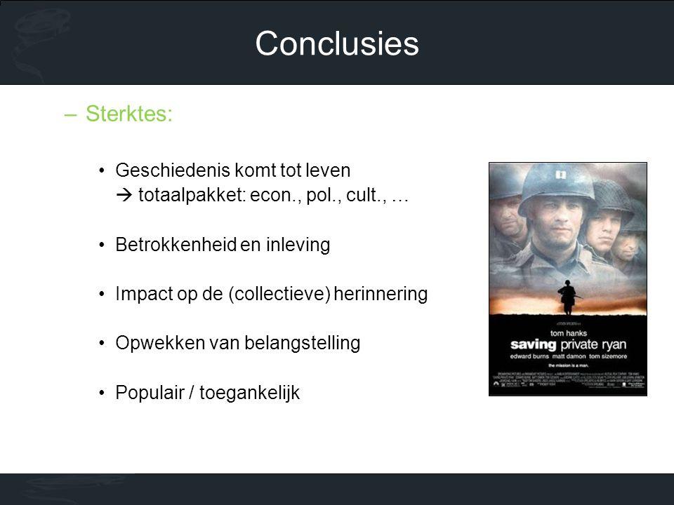 Conclusies Sterktes: Geschiedenis komt tot leven