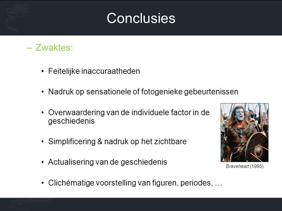 Conclusies Zwaktes: Feitelijke inaccuraatheden