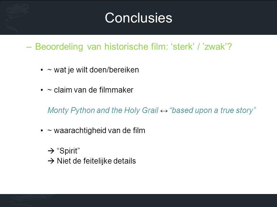 Conclusies Beoordeling van historische film: 'sterk' / 'zwak'