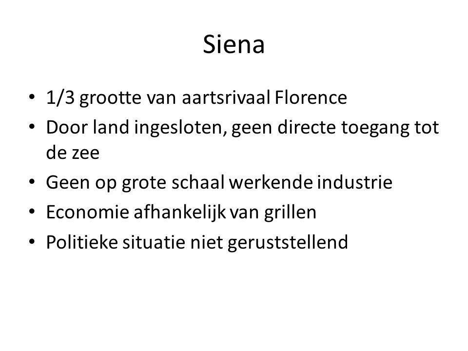 Siena 1/3 grootte van aartsrivaal Florence