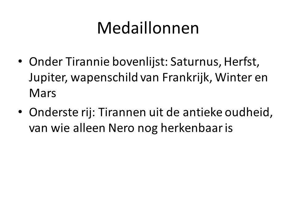 Medaillonnen Onder Tirannie bovenlijst: Saturnus, Herfst, Jupiter, wapenschild van Frankrijk, Winter en Mars.