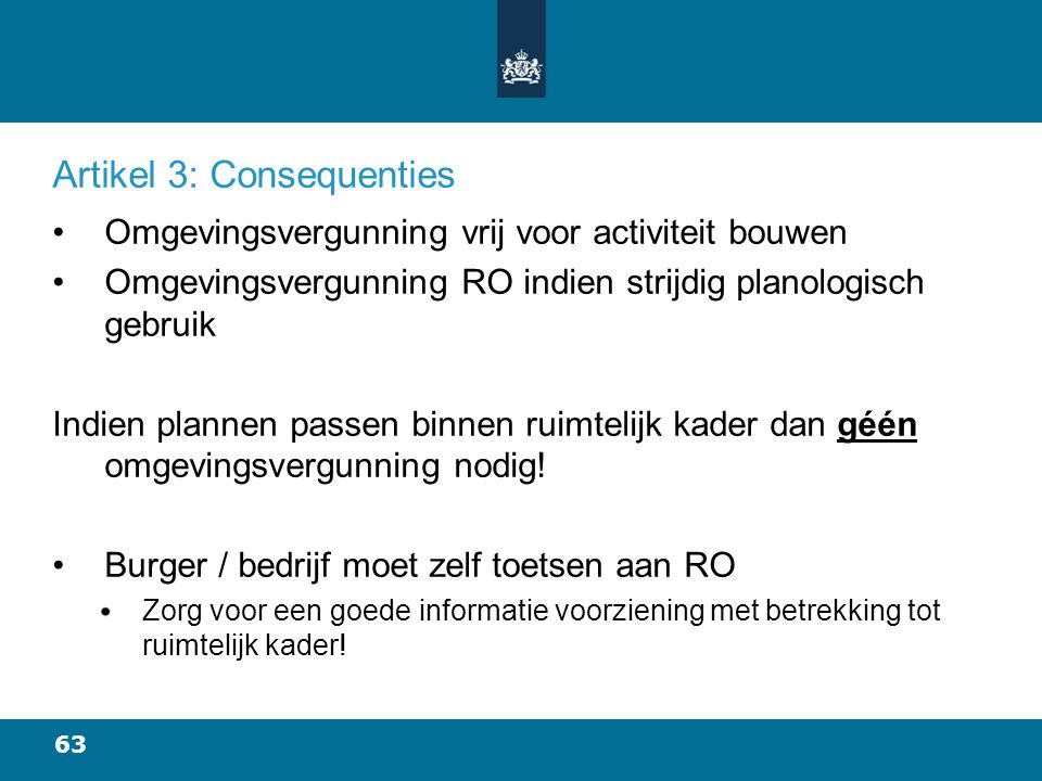 Artikel 3: Consequenties
