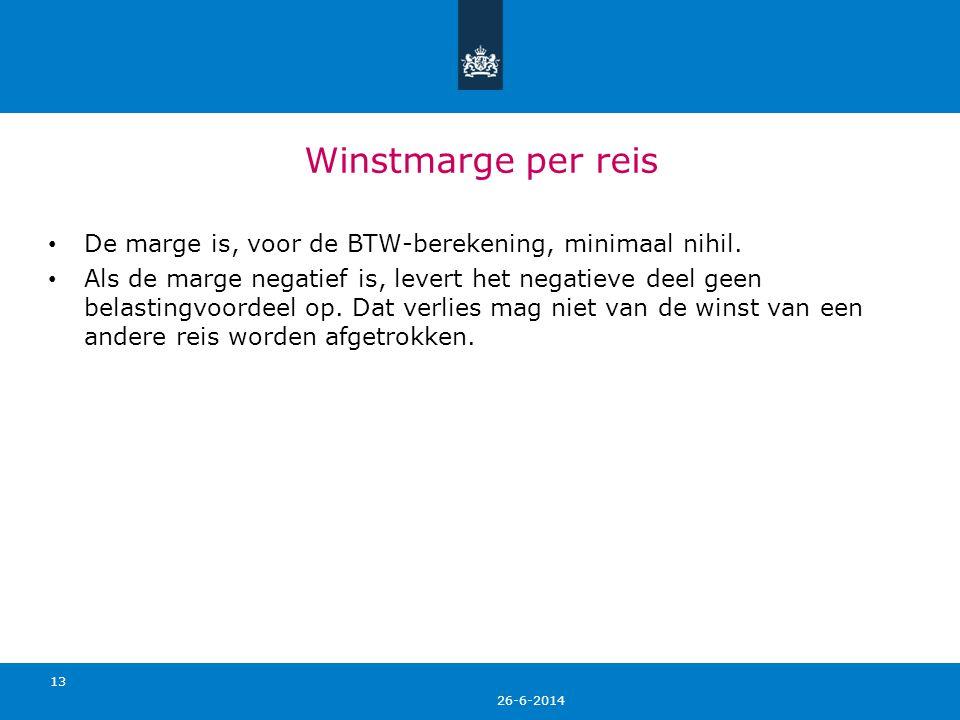 Winstmarge per reis De marge is, voor de BTW-berekening, minimaal nihil.