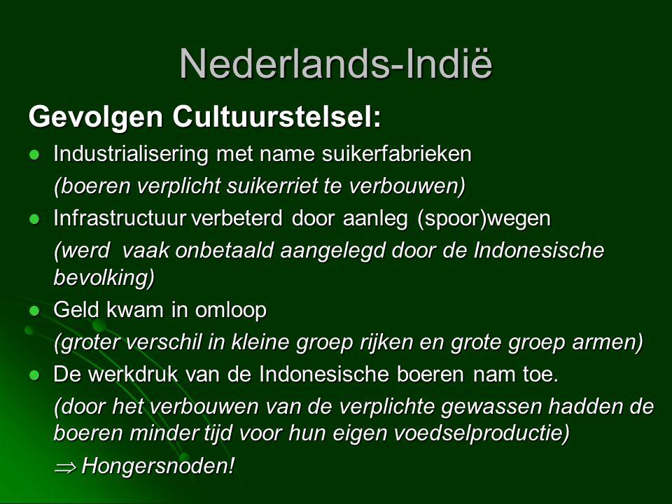 Nederlands-Indië Gevolgen Cultuurstelsel: