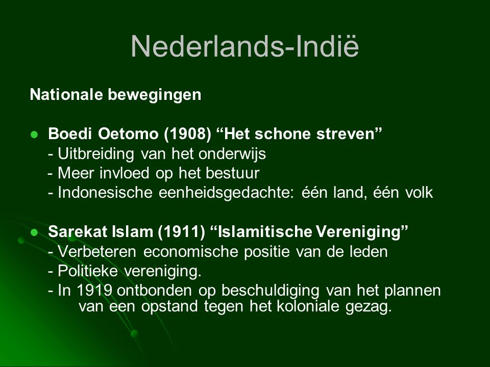 Nederlands-Indië Nationale bewegingen