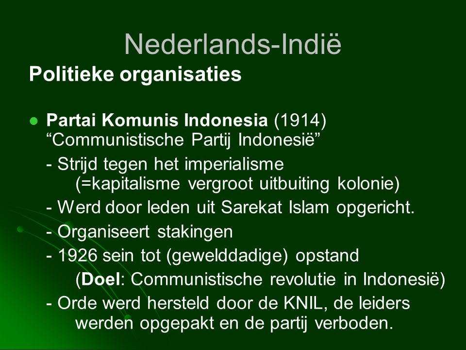 Nederlands-Indië Politieke organisaties